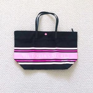 NEW Victoria's Secret Large Black Pink Zip Tote